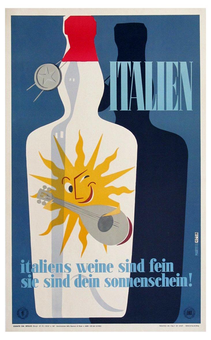 Italian Wine Poster by Martelli, 1955