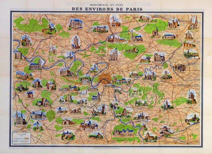 Paris des Environs Poster Map