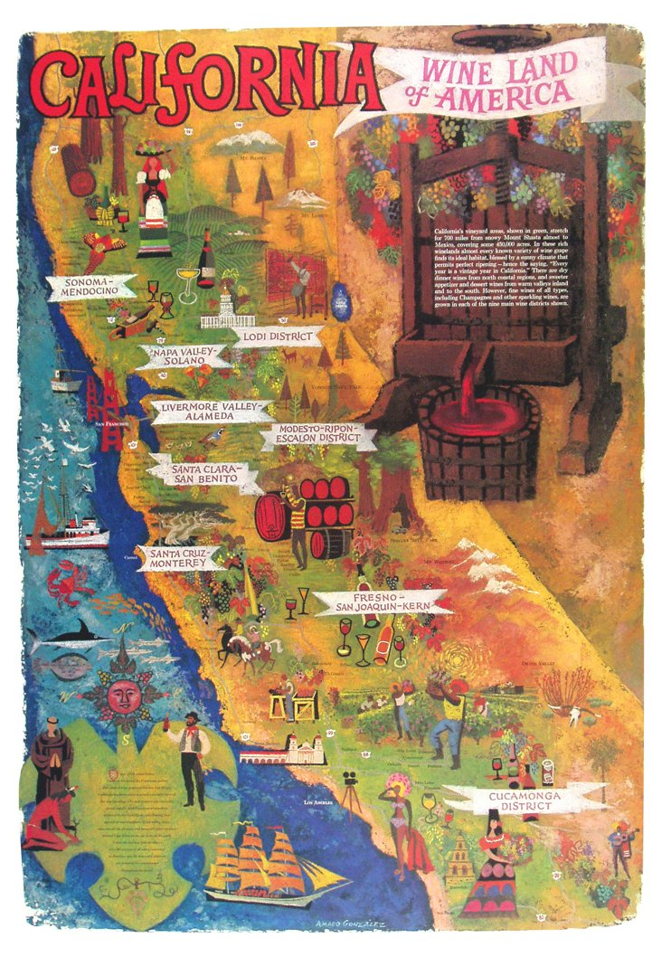 Wine Land California Poster