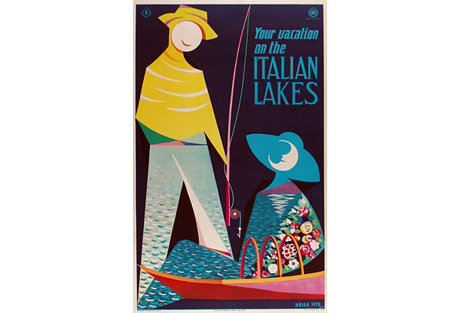 Italian Lakes Travel Poster, 1953