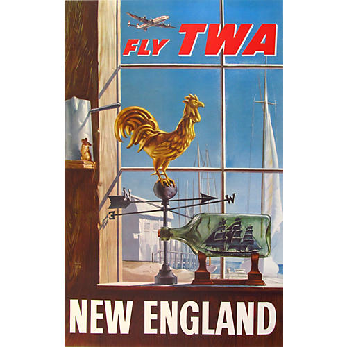 1950s TWA New England Travel Poster