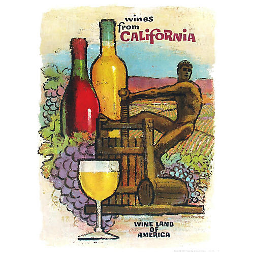 California Wine Land Wine Press Poster