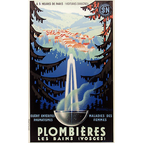 Plombières Fountain Mineral Spa Poster