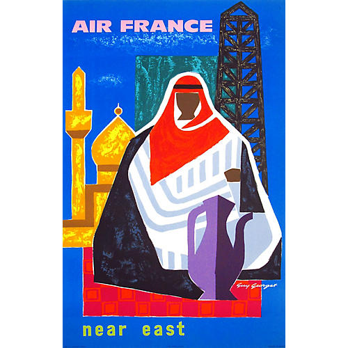 Near East Air France Travel Poster