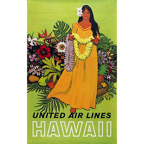 United Air Lines Hawaii Travel Poster