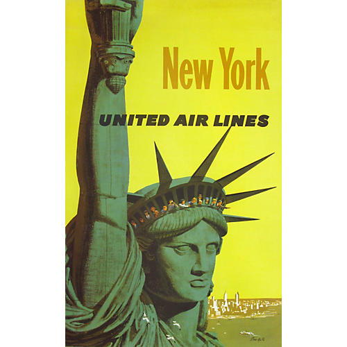 United Air Lines New York Travel Poster
