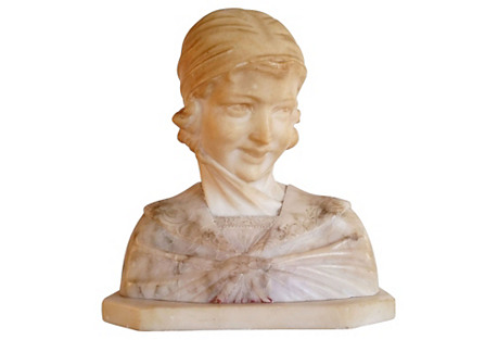 Alabaster & Marble Bust Of A Woman