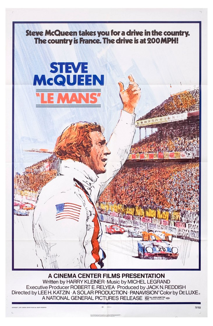 Le Mans Movie Poster,   1971