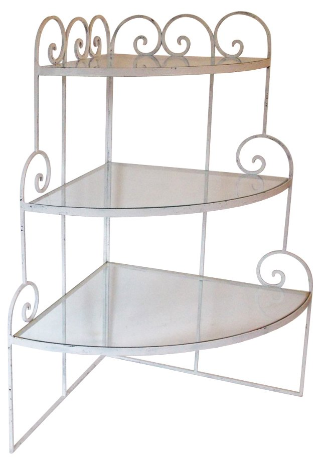 Metal & Glass Corner Étagère