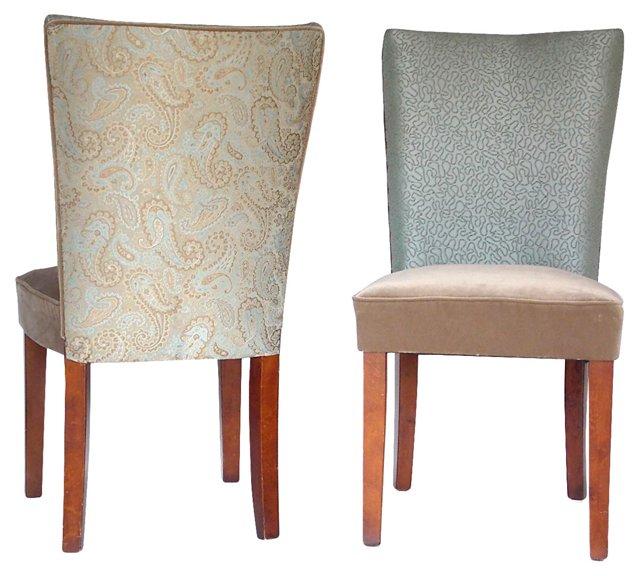 Velvet Parsons Chairs, Pair