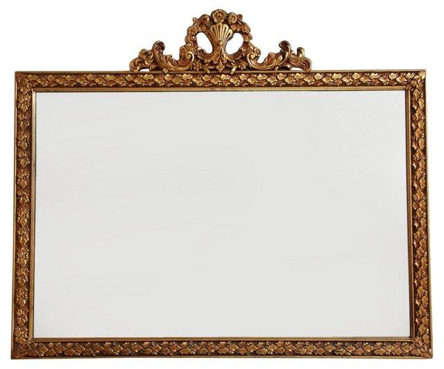 Giltwood Mirror w/Floral Crest