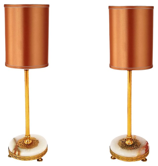 Onyx & Brass Lamps, Pair