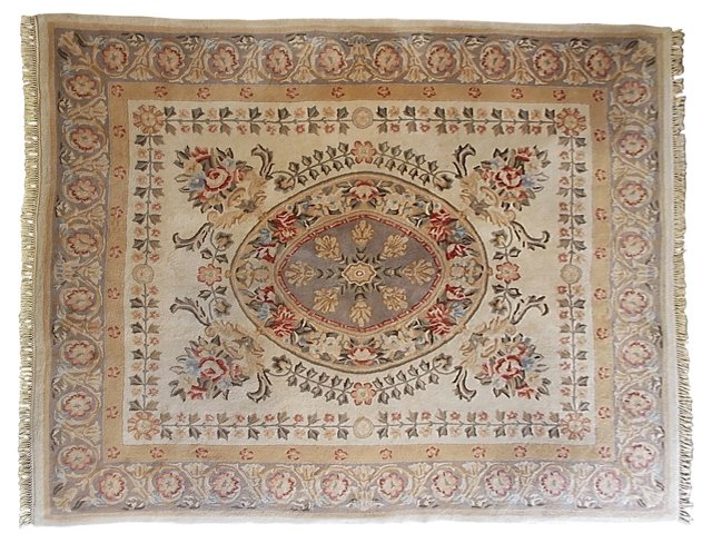 """Aubusson-Style Floral Rug, 8'1"""" x 9'11"""""""