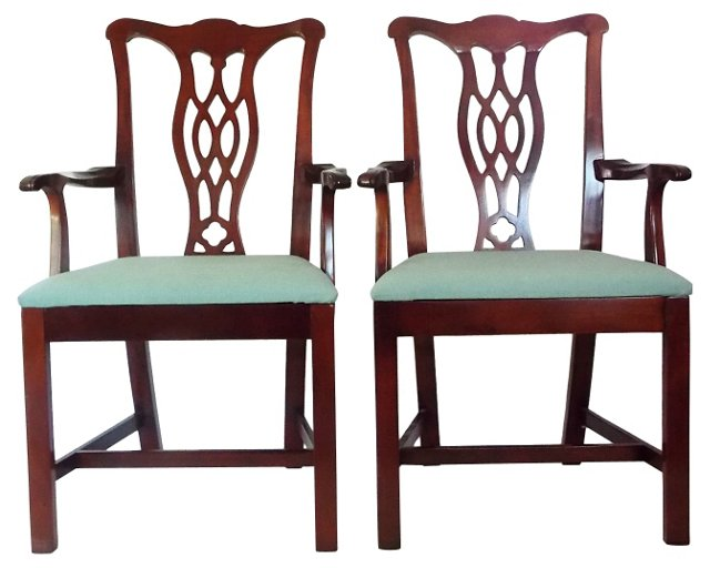 Chippendale-Style Mahogany Chairs, Pair