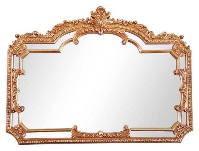 Grand Provençal-Style Giltwood Mirror