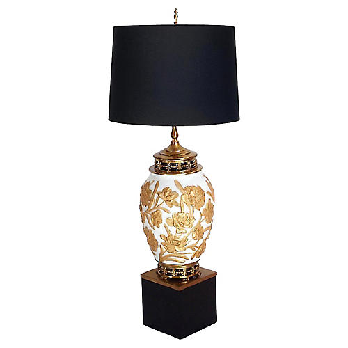 Brass & Gilded Glass Urn Lamp