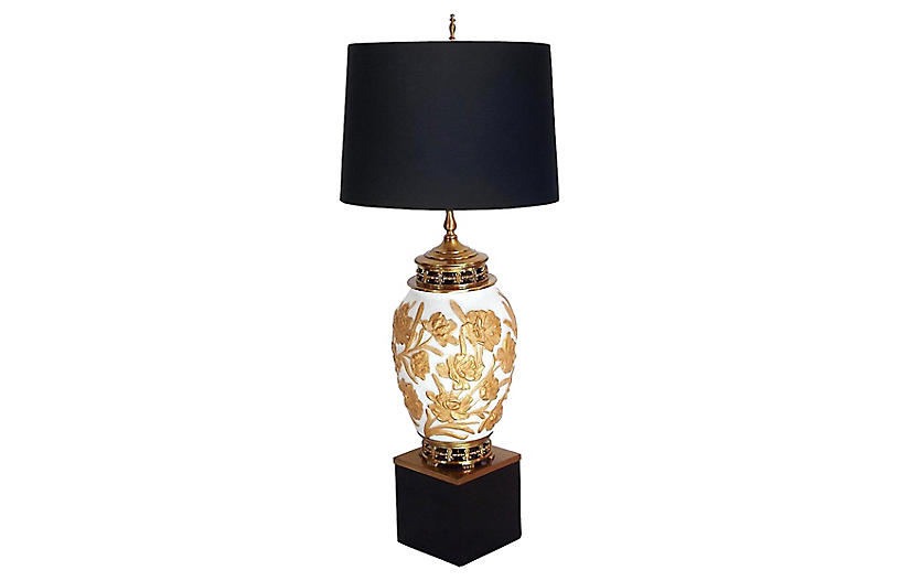 Brass & Gilded Glass Urn Lamp