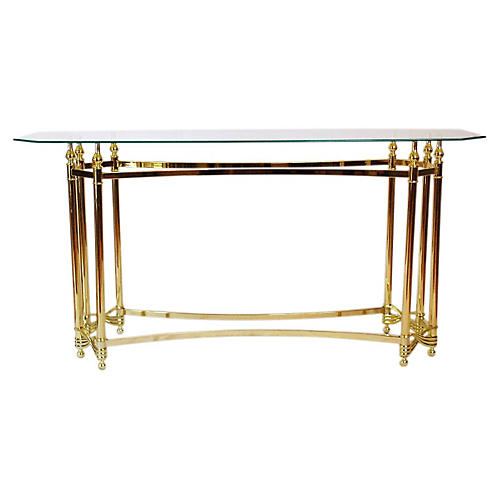 Regency Brass & Glass Console