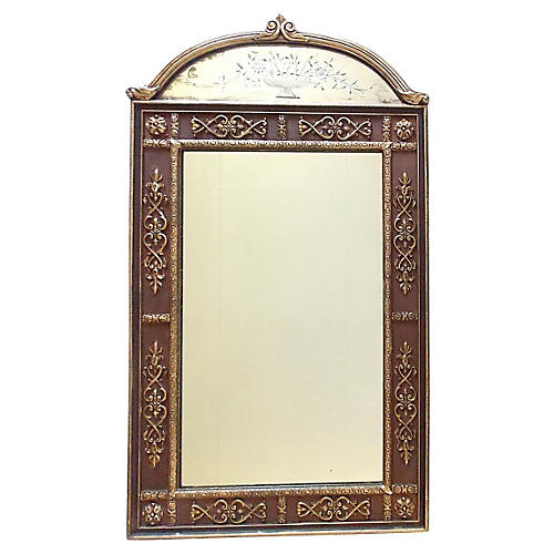 Vertical Etched Giltwood Mirror