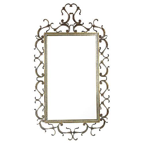 Italian Ornate Brass Mirror
