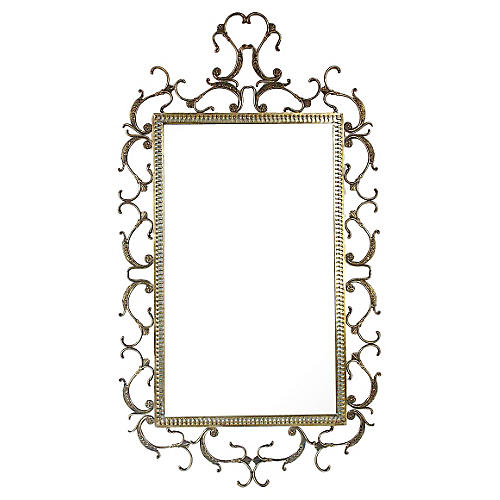 Italian Ornate Brass Mirror