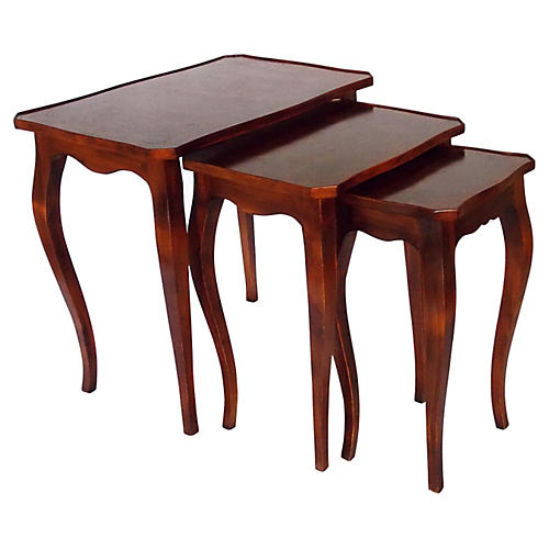 Italian Burl-Wood Nesting Tables, S/3