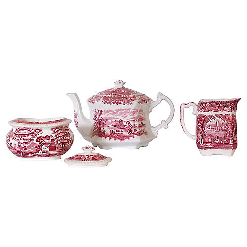 Teapot, Creamer & Sugar