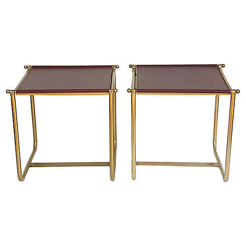 Modernist Brass Side Tables, Pair