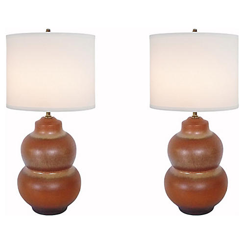 Pottery Lamps, Pair
