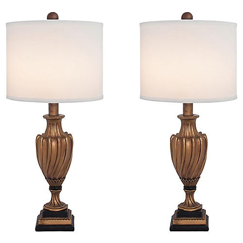 Gilt Swirl Urn Lamps, S/2
