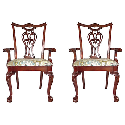 Chippendale Armchairs, Pr.