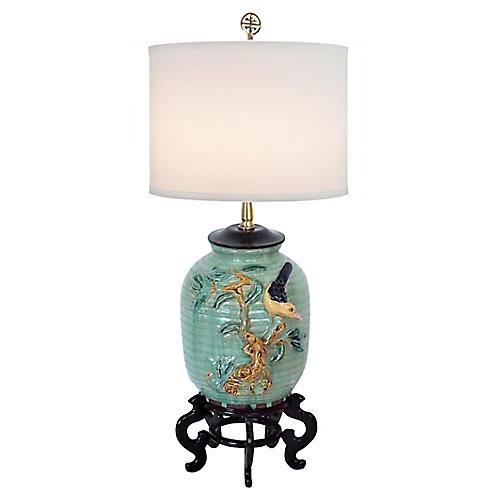 Majolica-Style Celadon Lamp