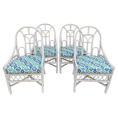 White Rattan Chairs, Set 4