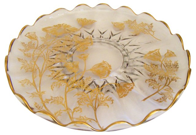 Cake Plate w/ Gold Overlay Poppies