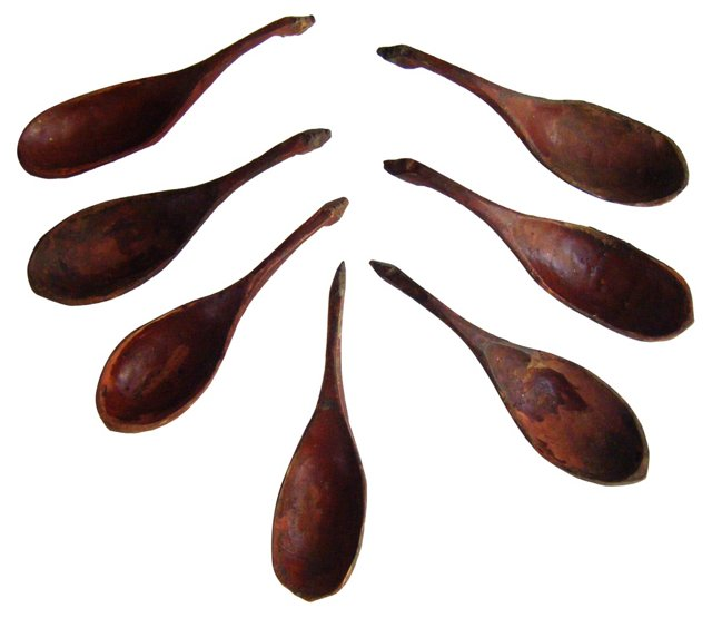 Hand-Carved Wooden Spoons, S/7