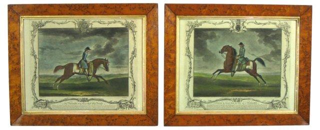 19th-C. Equestrian Prints, Pair