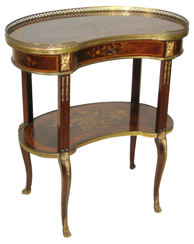 19th-C. French Inlaid Side Table