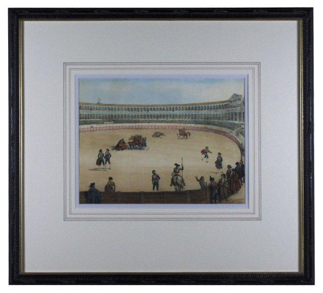 Bullfight Arena Etching