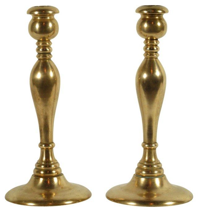 Bell Metal Candlesticks, Pair