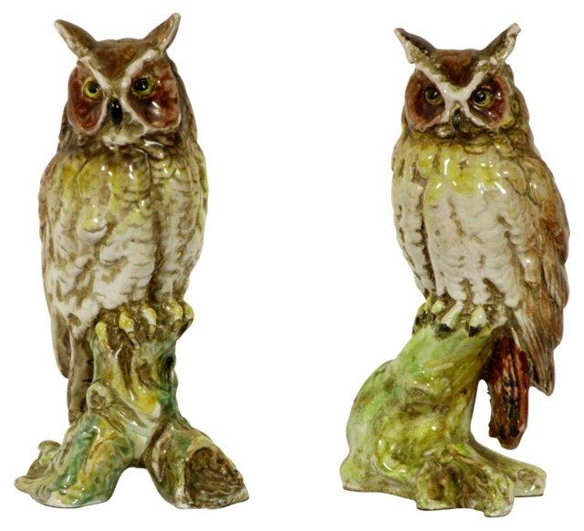 Italian Porcelain Owls, Pair