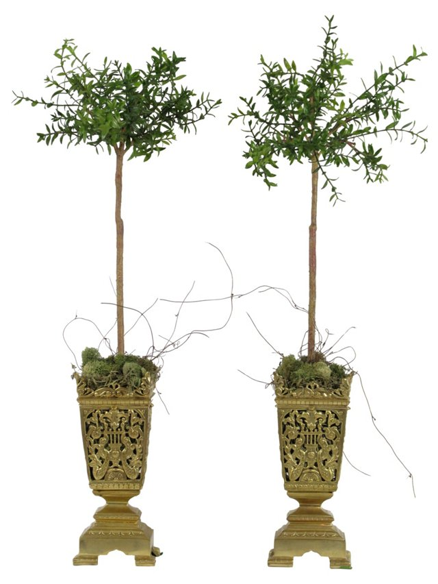 French Bronze Topiary Urns, Pair
