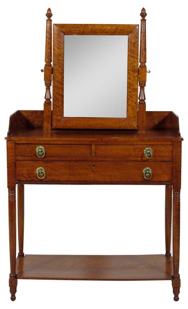 19th-C. Birds-Eye Maple Dressing Table