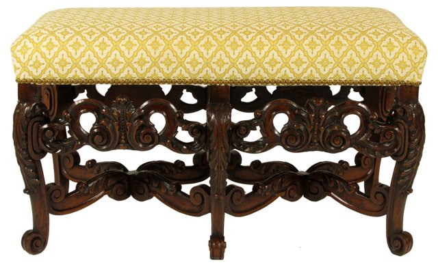 Rococo-Style Carved Bench