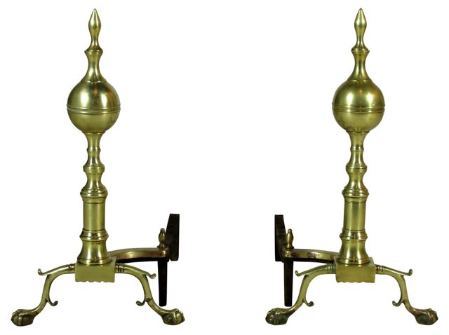 19th-C. Chippendale-Style Andirons