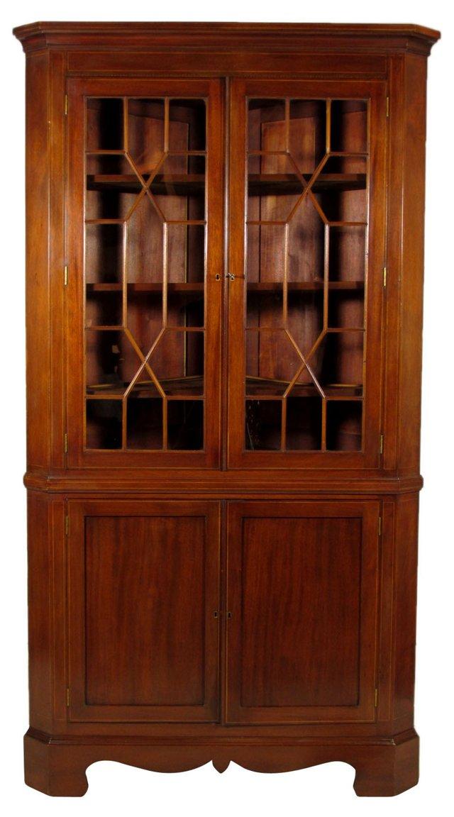 19th-C. American Inlaid Corner Cabinet
