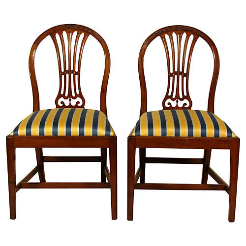 19th-C. English Side Chairs, Pair