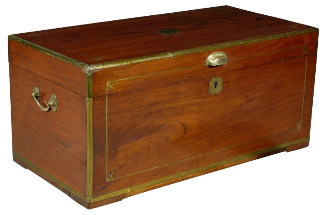 19th-C. Chinese Camphorwood Trunk