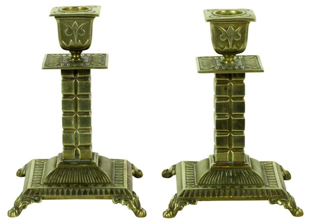 English Candleholders, Pair