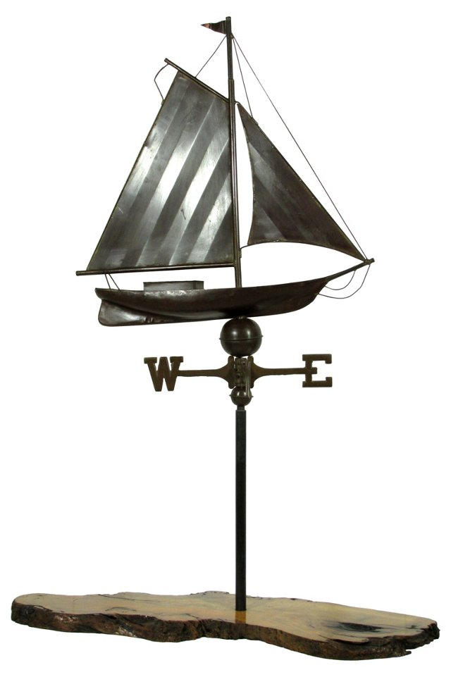 Ship Weather Vane On Stand