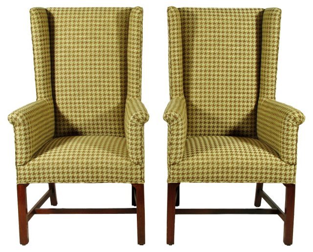 Chippendale-Style Wingbacks, Pair